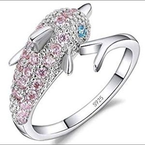 Jewelry - Whimsical dolphin 925S crystal ring!  NWOT Size 6